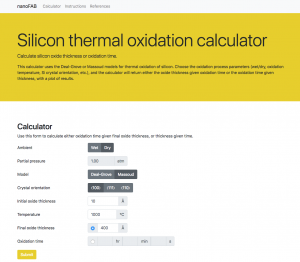 Screenshot of thermal oxidation calculator form (click to zoom)